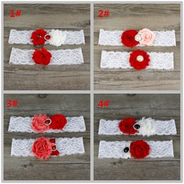 Wholesale Red Wedding Garter Belt - Two Pieces   Set High Quality Bridal Garter Belts With Lace Chiffon   Satin Flower Beads Real Photos Wedding Garters #BW-G008