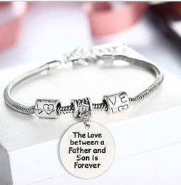 Wholesale Mother Son Bracelets - Love Between Mother And Son Chain Bracelet Heart Thank You Charm Family Love Mother's Gifts Mom jewelry Female