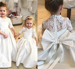 Wholesale Illusion Neckline Communion Dress - Half Sleeves Flower Girls Dresses Sheer Neckline Lace Illusion Girls Pageant Dresses With Big Bow Satin Long First Communion Dress