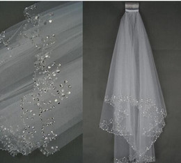 Wholesale Beaded Wedding Accessories - 2017 cheap Wedding Bridal Veil 2-Layer Handmade Beaded Crescent edge Bridal Accessories Veil White and Ivory color in stock
