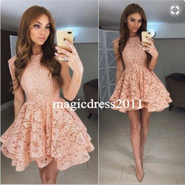 Wholesale Teen Prom Dresses Short - 2017 Coral Lace Homecoming Dress Short Tiered Puffy Skirts Prom Dresses for Teens Sweet 16 Girls Dress Graduation Party Gowns Plus size