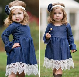 Wholesale Long Sleeve Dress Wholesale - Flower girl dress denim dress Girls falbala long sleeve denim lace crochet hem dresses Spring new kids princess dresses girls pleated dress