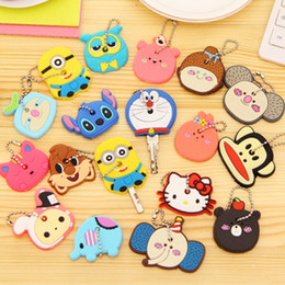 Wholesale Silicon Animals - 120pcs 2016 New Cartoon Minions Cute Animals Silicon Key Caps Covers Keys Keychain Case Shell Novelty Item Key Accessories Car Keychain