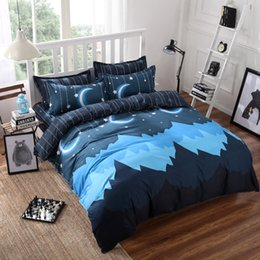 Wholesale full bedsheet - Wholesale- Moon Bedding Set 4 Pieces Reactive Printing Duvet Cover Pillowcase Bedsheet BedCover Fabric Home Decoration