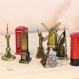 Wholesale Famous Craft - The world famous buildings iron tower windmill model vintage metal crafts Bar Cafe Home Furnishing ornaments give gifts creative model toys