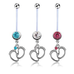 Wholesale Baby Gold Jewelry For Girls - 3pcs lots Flexible CZ Pregnant Maternity Navel Belly Ring Piercing Body Jewelry Baby Feet Belly Button Rings For pregnancy Women