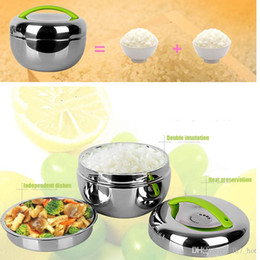 Wholesale rice steel bowl - 2017 Stainless Steel Apple Shaped Lunchbox Double Layer Insulation Portable Lunch Box Container Non-magnetic Rice Bowl