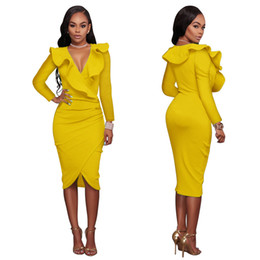 Wholesale Cheap Dresses For Night - Casual Long Sleeve Dress For Women Even Wed Prom Formal Spandex Winter Cheap Gold Cocktail Nude Peplum Hippie Elegant Dresses