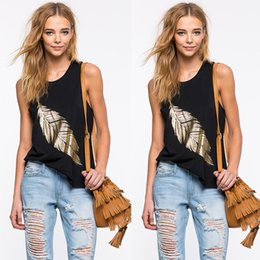 Wholesale Ladies Vests Cheap - 2016 Hot Sale Black Sleeveless Gold Feather Pattern Loose T Shirt For Gil Crew Neck Casual Lady Vest Cheap Tank Tops Free Shipping
