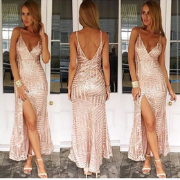 Wholesale Out Side Lights - Sexy Alluring Long prom Dresses Spaghetti Straps Bling Bling Gold Champagne Backless V Neck High Side Split Nigh Out Dresses Formal Gowns