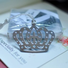 Wholesale Crown Shower Favors - Stainless Steel Crown Bookmark Favors with Tassel Wedding Baby Shower Favors Gifts Silver Metal 100pcs lot