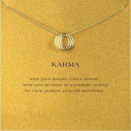 Wholesale Three Circles Pendant - Three-Ring Penant Necklace Choker Dogeared Karma Women Female Fashion Clavicle Statement Jewelry Gift Free Ship Wholesale