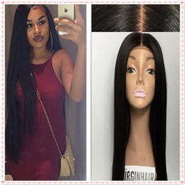 Wholesale Long Human Hair Part Wig - Hot Malaysian Silky Straight Silk Base Full Lace Wig Middle Part Human Hair Wigs Glueless Silk Top Wigs Bleached Knots 130% Density
