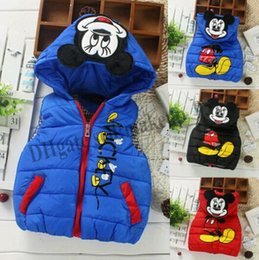 Wholesale Down Vest Cartoon Waistcoats - 2016 Hot Waistcoat Baby children autumn winter fashion down cotton cartoon vest sports leisure jacket boys girls comfortable coat retail