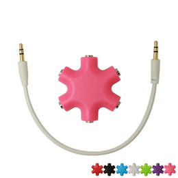 Wholesale Music Splitter - 6-way Snowflakes shape 3.5mm stereo audio headset hub splitter music headphones splitter 3.5mm headphone splitter 6 ports For iPod iPad MP3