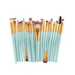 Wholesale Toothbrush Kits Wholesale - Mybasy 20pcs Professional fashion Multi-function Beauty Facial Eye Blush Lip Makeup Brush toothbrush beauty tools (blue-Gold)