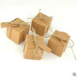Wholesale Wedding Favor Tea Bags - Wedding Candies Boxes Creative DIY Retro Kraft Paper Wedding Accessories Dessert Tea Bag Boxes String for Free