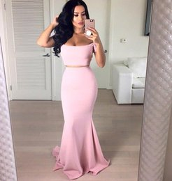Wholesale Silk Two Piece - Pink Two Pieces Off-the-Shoulder Mermaid Prom Dresses Short Sleeves Evening Gowns Sweep Train Vintage Custom Arabic Dress Under 100 BA3176