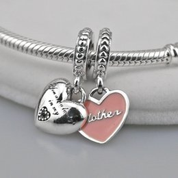 Wholesale Pink Enamel Beads - Authentic 925 Sterling Silver Mother & Daughter Hearts Dangle Charm Soft Pink Enamel &Clear CZ Fits European Pandora Style Jewelry Bracelets