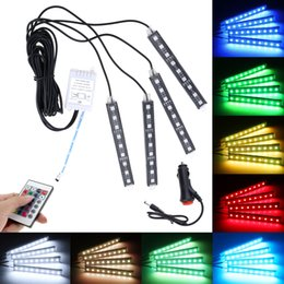 Wholesale Rgb Remote Kit - 4pcs 12V 5050-9smd Car RGB LED DRL Strip Light Decorative Flexible LED Strip Atmosphere Kit with Remote Control CLT_20X