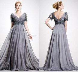 Wholesale Elie Saab Bride Dresses - Elie Saab 2016 Plus Size Mother Of The Bride Dresses Elegant V Neck Appliques Cap Sleeves Chiffon Long Floor Length Gray Evening Gowns