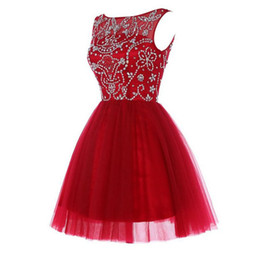 Wholesale Embellished Beaded Mini Dress - Dark Red Homecoming Dresses A Line Illusion Bateau Neck Sleeveless Beads Sequins Embellished Top Short Prom Dress Tulle Skirt Zipper up