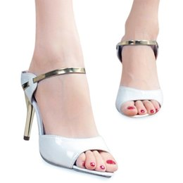 Wholesale High Heel Sandal Wholesale - Wholesale-High Heel Sandals Ankle-Wrap 2016 Women Sandals Beautiful Ladies Gold Silver Summer Shoes Sandals
