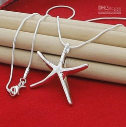 Wholesale Starfish 925 Silver Jewelry - Free Shipping NEW top silver jewelry Free shipping 925 Sterling Silver fashion charm Starfish PENDANT snake chain cute necklace