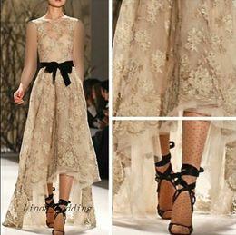 Wholesale High Low Designer Dresses - Monique Lhuillier Designer Lace Evening Dress High Low With Black Sash Runway Special Occasion Dresse Party Gown