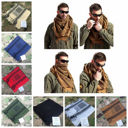 Wholesale Shemagh Tactical Desert Scarf - 100% Cotton Thick Muslim Hijab Shemagh Tactical Desert Arabic Scarf Arab Scarves Men Winter Military Windproof Scarf YYA438