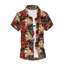 Wholesale 6xl mens dress shirt - Wholesale-2016 Men's Short Sleeved Summer Shirt Fashion Hawaii Shirt Mens Casual Dress Floral Shirts 5XL 6XL