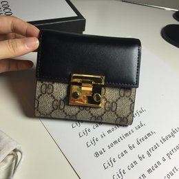 Wholesale Big Money Wallet Leather - 2017 New European and American Big Leather Small Wallet Short Women Soft Leather Lock Women's Thin Money Wallet