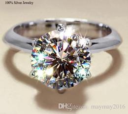 Wholesale Sterling Silver Cz Diamond Rings - Wholesale 925 Sterling Silver Jewelry Solid Silver Ring Set 2 Carat Sona CZ Diamond Engagement Wedding Rings for Women