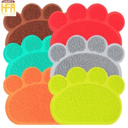 Wholesale Table Dishes - 40*30Cm PVC Paw Shape Cat Feeding Mat Sleeping Pads Cat Litter Mat Cleaning Feeding Dish Bowl Table Pet Feet Mat Pet Supplies