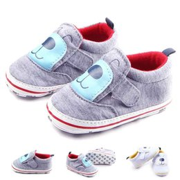 Wholesale Toddler Boys White Walking Shoes - Wholesale Baby Casual Shoes for Girl Boy Bear Cartoon Print Cotton Fabric Upper Hook&loop Band Soft Sole Toddler Walking Shoes