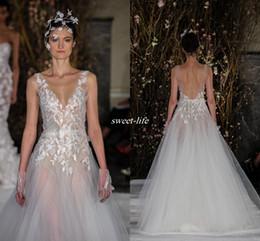 Wholesale Mira Zwillinger Wedding Dresses - Mira Zwillinger 2017 Sexy Illusion Wedding Dresses Sleeveless 3D-Floral Appliques V Neck Bridal Gowns Sleeveless Sweep Train Wedding Dress