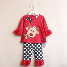 Wholesale Cute Christmas Girl Outfits - 8 Sets lot NEW 6M-3T Rare editions Christmas Cartoon Cute Girl Long Sleeve Tops and Pants New Year Outfit AJ-07
