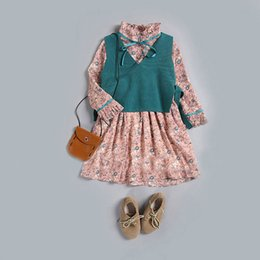 Wholesale Knitted Vest Girl - Everweekend Girls Autumn Candy Floral Dress with Knitted Vests 2pcs Sets Autumn Outfits Sweet Children Fashion Clothing