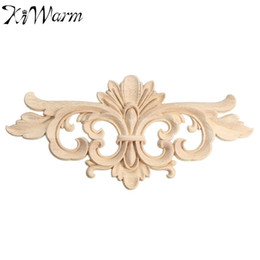 Wholesale Furniture Carvings - Wholesale- KiWarm Vintage Unpainted Wood Carved Decal Corner Onlay Applique Frame For Home Furniture Wall Cabinet Door Decor Crafts 22*10cm