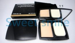 Wholesale Double Perfection Compact - 4Pcs DOUBLE Perfection Compact Powder Face Makeup 2 Different Colors 15g Brighten Long-lasting Free shipping