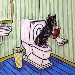 Wholesale Traditional Folk Art - Doberman Pinscher in the bathroom dog art tile coaster,Pure Hand Painted Folk Pop Art Oil Painting Canvas.any customized size accepted sch