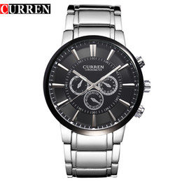Wholesale Mens Curren Waterproof Watches - Free Shipping Hot sale Curren Mens Big dial quartz stainless steel precision inveted Business Military watch waterproof Dropship onlinebuye