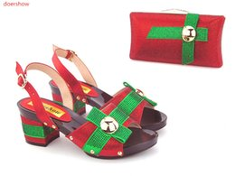 Wholesale Heel Sandals Online - Red New Arrival African Women Heels Shoes And Bag For Party Fashion Rhinestone Adult Sandal Pumps Matching Bag Online AB5-14