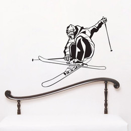 Wholesale Bathroom Game - Extreme Speed Skiing Game Wall Stickers Kids Bedroom Vinyl Wall Decals Home Decor Sports Sticker Adhesive