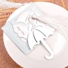 Wholesale White Guest Books - Umbrella Bookmark With White Tassel Silver Color Metal Book Maker Exquisite Wedding Party Giveaway For Guest 1 27fg F R