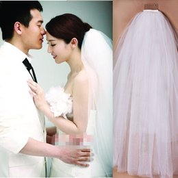 Wholesale Offers Champagne - Special offer new han edition star bride wedding veil Double white plug combed yarn can be covered face short model