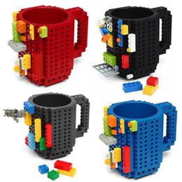 Wholesale Lighted Coffee Cup - New Drinkware Building Blocks Mugs DIY Block Puzzle Mug 1Piece Build-On Brick creative Mug Lego Type Coffee Cup