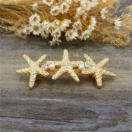 Wholesale South Sea Shell Pearls Wholesale - Fashion Starfish Barrettes Pearl Rhinestone Gold Sea Shell Hair Clip Women Hair Accessories HG229