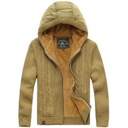 Jeep kleidung online-AFS JEEP Herren AFS JEEP Marke Kleidung Winter Super Warm Wolle Liner Hooded Sweatercoat Mode Reißverschluss Cardigans Pullover Männer 248