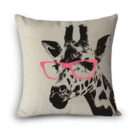 Wholesale Giraffe Throw - Wholesale- Hand Printed DEER giraffe Home Decor Pillow elk Linen Cotton Decorative Throw Pillows Free Shipping MYJ-A8